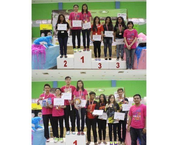 (atas) Kategori Ganda Putri, Valencia meraih Juara I dan (bawah) kategori ganda campuran Valencia meraih Juara II