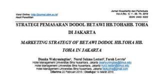 STRATEGI PEMASARAN DODOL BETAWI HB.TOHA DI JAKARTA
