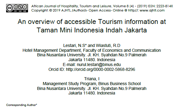 AN OVERVIEW OF ACCESSIBLE TOURISM INFORMATION AT TAMAN MINI INDONESIA INDAH JAKARTA