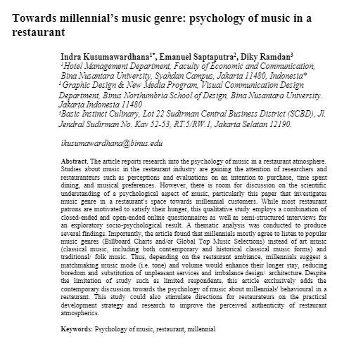 TOWARDS MILLENNIAL'S MUSIC GENRE: PSYCHOLOGY OF MUSIC IN A RESTAURANT