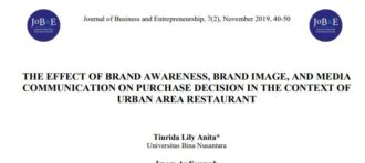 THE EFFECT OF BRAND AWARENESS, BRAND IMAGE, AND MEDIA COMMUNICATION ON PURCHASE DECISION IN THE CONTEXT OF URBAN AREA RESTAURANT