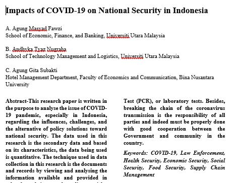 IMPACTS OF COVID-19 ON NATIONAL SECURITY IN INDONESIA